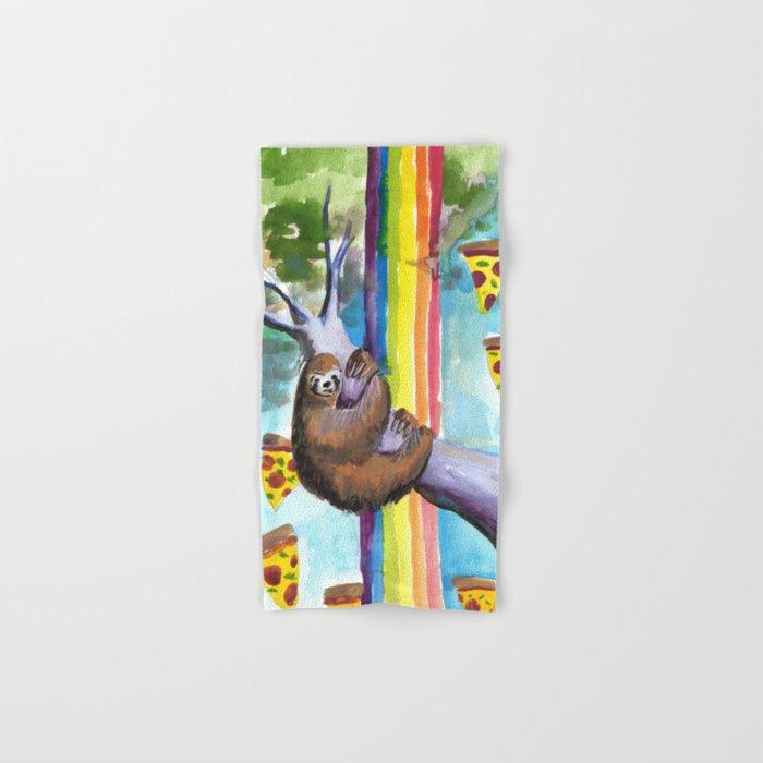 sloth pizza rainbow Hand & Bath Towel