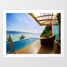 Infinity pool over Phi Phi bay Art Print