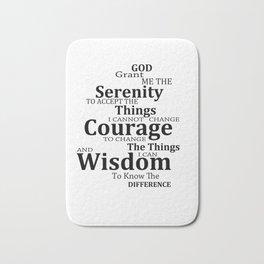 Serenity Prayer 6 - Simple Black And White Bath Mat