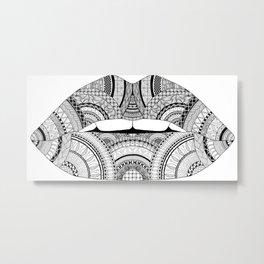 Lips Zendoodle Metal Print