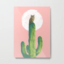 Quirky owl on saguaro cactus Metal Print