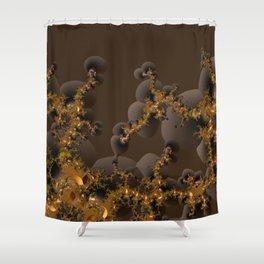 Organic Explosion of Chocolates - Fractal Golden Lava Shower Curtain