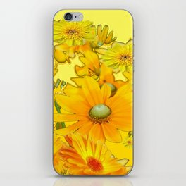 DECORATIVE YELLOW FLORAL GARDEN ART iPhone Skin