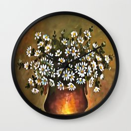 Daisies In A Copper Colored Vase Wall Clock