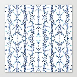 Vines Kaleidoscope (blue on white) Canvas Print