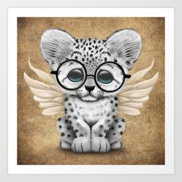 Snow Leopard Cub Fairy Wearing Glasses Art Print