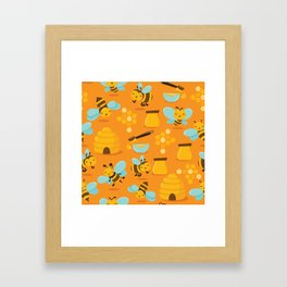 Cute Honey Bee Pattern Framed Art Print