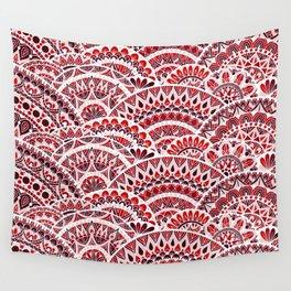 Red Wave Mandala Wall Tapestry