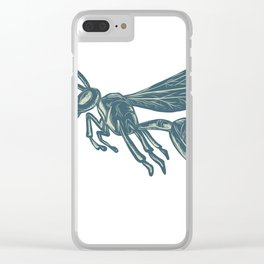Yellowjacket Flying Scratchboard Clear iPhone Case