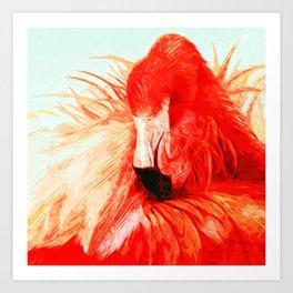 Abstract Flamingo Art Print