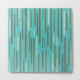 Interrupted Lines Mid-Century Modern Minimalist Pattern in Turquoise and Brown Metal Print