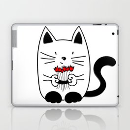 Cat with beautiful roses Laptop & iPad Skin