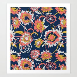 Bold Chinoiserie Floral - Limited Color Palette 2019 Art Print