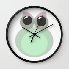 Green Pastel OWL Wall Clock