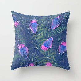 Neon Strawberries in the Night #1 Throw Pillow