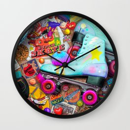 Super Retro Roller Skate Night Wall Clock