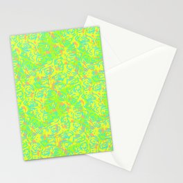90's Neon Abstract Turtle Shells in Fluorescent Yellow Stationery Cards