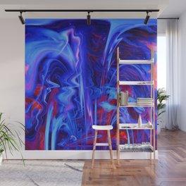 Whimsical Display of Blue Wall Mural