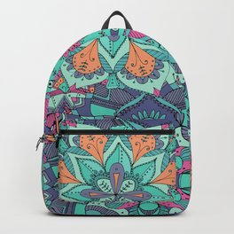 Multicoloured Layered Detailed Floral Mandalas Illustrated Pattern Backpack