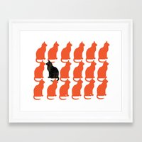 silhouette Framed Art Prints featuring CATTERN SERIES 2 by Catspaws