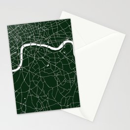 Green on White London Street Map Stationery Cards