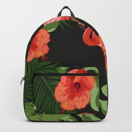 Tropical Pink Flamingo Hibicus Backpack