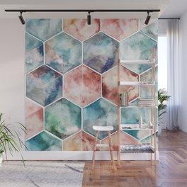 Earth and Sky Hexagon Watercolor Wall Mural
