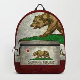 Californian flag the Bear flag in retro grunge Backpack