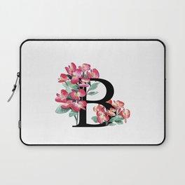 Letter 'B' Begonia Flower Monogram Typography Laptop Sleeve