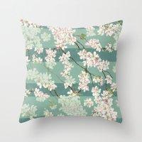 sakura Throw Pillows featuring Sakura by Maria Durgarian