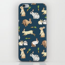 Rabbits on navy background iPhone Skin
