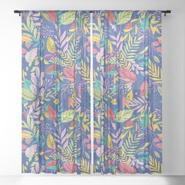 Fruit Tea Florals - Blueberry Sheer Curtain