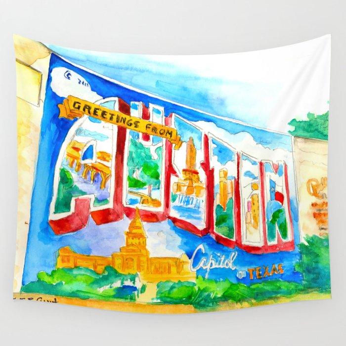 Greetings from austin mural watercolor wall tapestry by brucegrant58 greetings from austin mural watercolor wall tapestry m4hsunfo