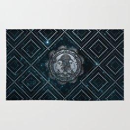 Gemini Zodiac Silver Embossed on the Star sky Rug
