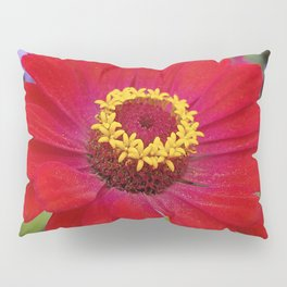 Red zinnia - blazing ring of fire Pillow Sham