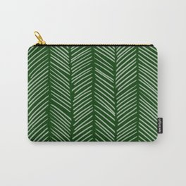 Forest Green Herringbone Carry-All Pouch