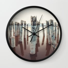 Pilings Clad in Winter Wall Clock