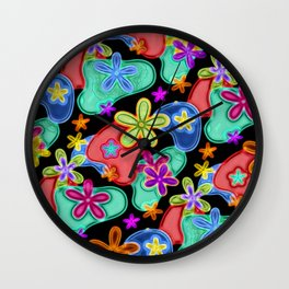 Colorful Retro Flowers Fractalius Pattern Wall Clock