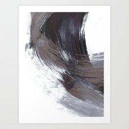 Dark Indigo Blue and Grey Gestural Abstract Brushstroke Painting Art Print