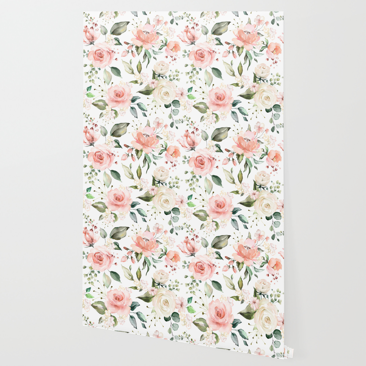 Sunny Floral Pastel Pink Watercolor Flower Pattern Wallpaper By