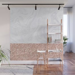 White Marble Dipped in Rose Gold Glitter Wall Mural