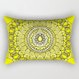 Yellow Sunshine Bohemian Mandala Rectangular Pillow