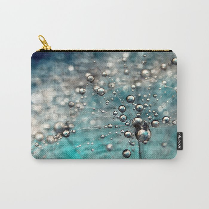 Ocean Blue  and White Dandy Drops Carry-All Pouch