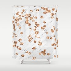 Rose gold crystals - white marble Shower Curtain