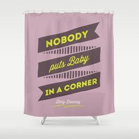 dirty dancing Shower Curtains featuring dirty dancing lilac by 16floor