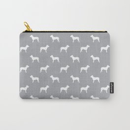 Pitbull grey and white pitbulls silhouette minimal dog pattern dog breeds dog gifts Carry-All Pouch