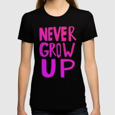 Never Grow Up II Black Womens Fitted Tee SMALL