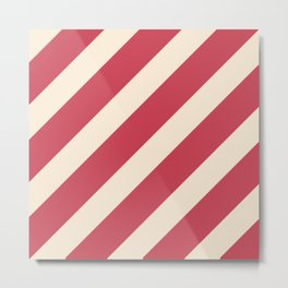 Antique White and Brick Red Stripes Metal Print