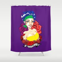 tatoo Shower Curtains featuring Love & Roses by Lagoonartastic