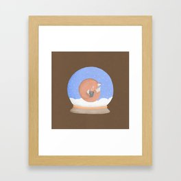Sleeping Fox in A Snow Globe Framed Art Print